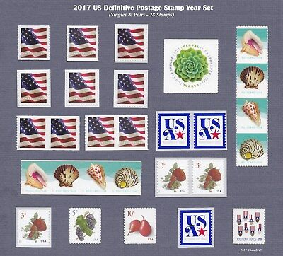 2017 US Definitive Stamp Year Set (Singles & Pairs - 28 Stamps) 2017 Mint NH