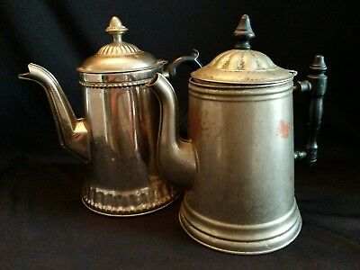 Pair of Antique Primitive Stamped Metal Coffee Pots  with Wooden Handles