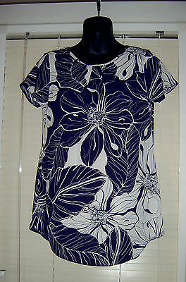 Ladies Navy And White Top - Size  8  - Bnwt