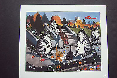 "Color Kliban Cat Cartoon Print - ""cats Walking Dogs "" - Kilban"