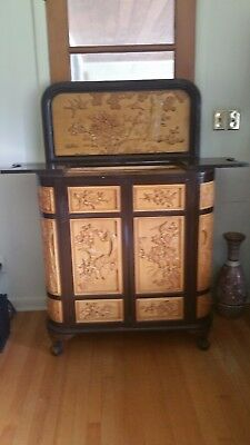 Antique Beautiful Chinese Hand Carved Wood Cabinet Bar