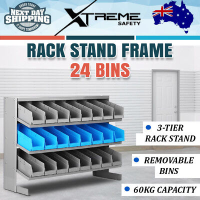 24 Bins Storage Shelving Rack Stand Workshop Garage Warehouse Tools Organiser