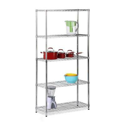 "Honey-Can-Do 5-Shelf 72"" H x 36"" W x 14"" D Steel Shelving Unit Chrome SHF-01443"