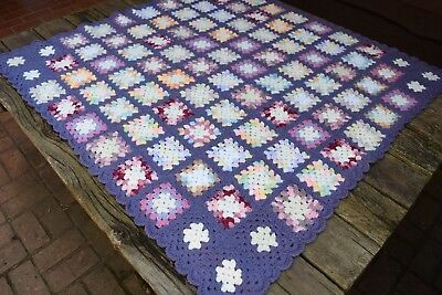 Vintage Cotton Crochet Patchwork Granny Square Afgan/Throw in Purple and Pastels