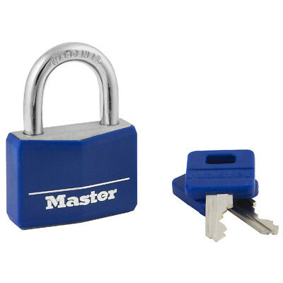 "Master Lock 1-9/16"" Covered Solid Body, Padlock - Blue, 142DCM"