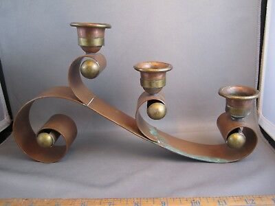 RARE Hector Aguilar Taxco Mexico Copper & Brass Scroll Candle Holders 1pound 8oz