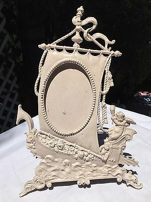 Old ORNATE Victorian Angel Ship Sailor Picture Photo FRAME painted Brass NICE