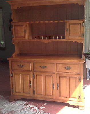 Vintage maple hutch, buffet and table