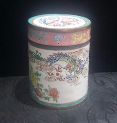 Late 19th -20th Century Chinese Canton Enamel Dragon Phoenix Motif Trinket Box