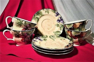 """Noble Excellence China """"napa Valley"""" Lot Of 4 Cup And Saucer Sets---Excellent"""