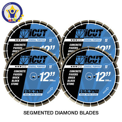 "4 PK - 12"" General Purpose DIAMOND BLADE 10mm Brick Block Concrete FREE SHIPPING"