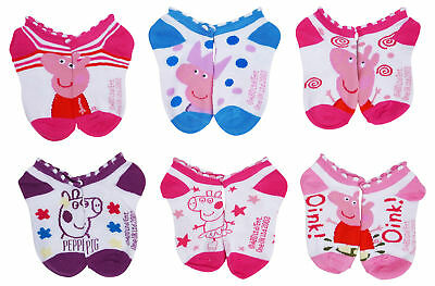 Peppa Pig Girls Ankle Socks 6-PACK Size 4-6