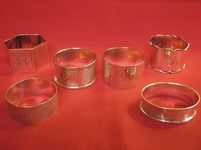 1911 Onward's,6 Solid Silver Napkin Rings With Engine Turned & Chased Decoration