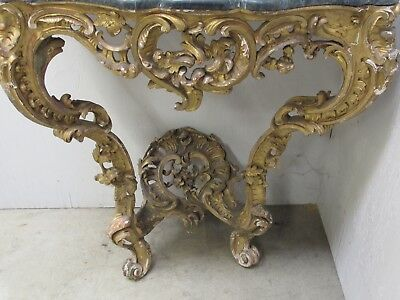Antique French Rococo Louis XV Carved Gilt Wood Console Table Marble Top