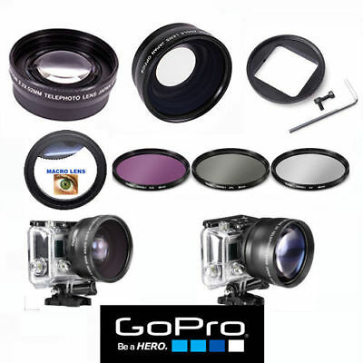 Gopro Hero5 Black Wide Angle Lens+Telephoto Zoom Lens + Filter Kit + Macro Lens
