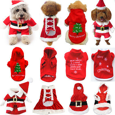 XMAS Pet Clothes Winter Puppy Dog Costume Sweater Hoodie Coat Christmas Apparel