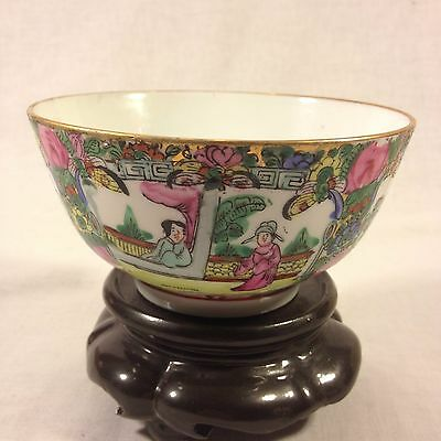 Chinese Famille Rose Hand Painted Rice/Soup Bowl made in HongKong