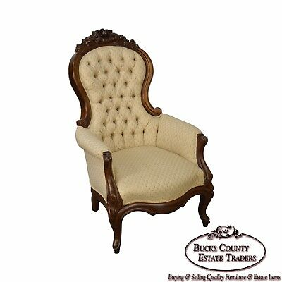 Antique Solid Walnut Victorian Tufted Parlor Chair - ANTIQUE SOLID Walnut Victorian Tufted Parlor Chair - $895.00 PicClick