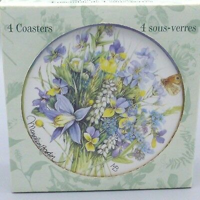 New 4 Hallmark Marjolein Bastin Ceramic Coasters Nature's Sketchbook Wild Flower