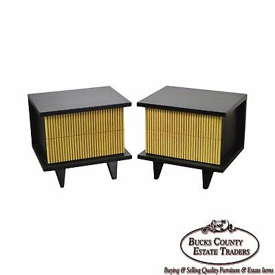 American of Martinsville Pair Mid Century Modern Blk Pickled Finish Nightstands