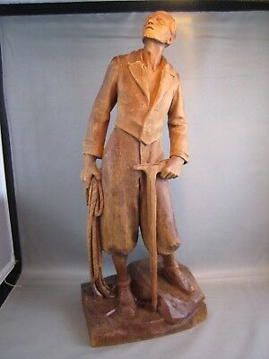 """ANTIQUE  ANRI Black Forest Wood Carving Carved MOUNTAIN CLIMBER 14"""" Signed A.R."""