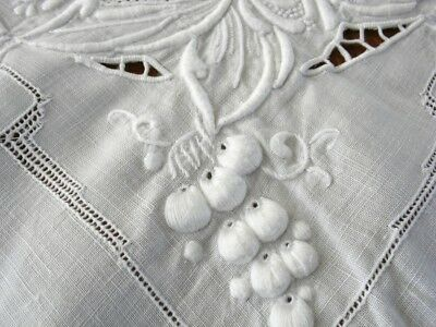 "Beautiful 51"" Square Antique White Embroidered Cutwork Tablecloth Raised Berries"