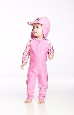 NEW Rashoodz Polly in Pink Rashsuit with Hat from Baby Barn Discounts