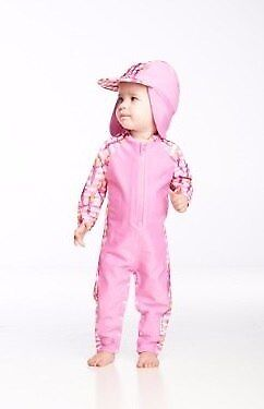 NEW Rashoodz - Polly in Pink Rashsuit with Hat from Baby Barn Discounts