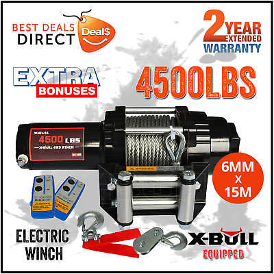 X-BULL 4500LBS/2039kg Boat ATV 4WD Electric WINCH Steel Cable 2 REMOTE 12V