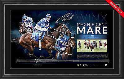 Winx Signed Magnifient Mare Signed Horse Racing Whip Framed Hugh Bowman OFFICIAL
