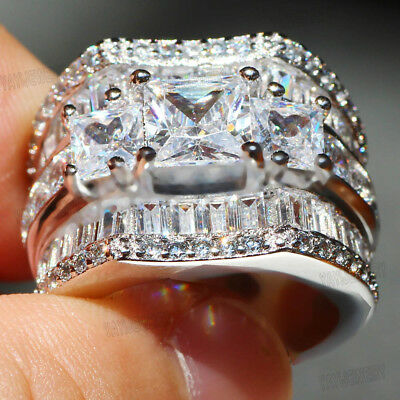 Hot Woman's 925 Silver Filled White Sapphire Birthstone Wedding Band Flower Ring
