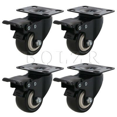 5cm Swivel Top Plate Shelf Rack Caster Wheels w/ Brake Set of 4 Black