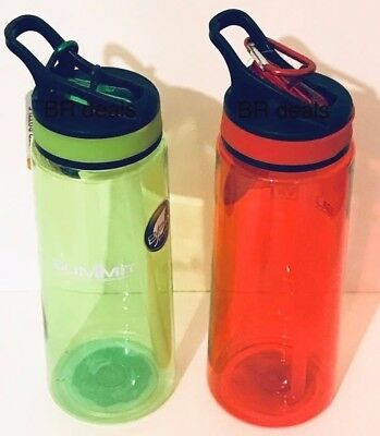 Pack of 2 Summit 700ml BPA Free Water  Bottle with Carabiner Travel Gym Sport