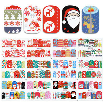 12 Patterns Nail Art Water Decal Christmas Tree Snow Deer Gift Transfer Stickers