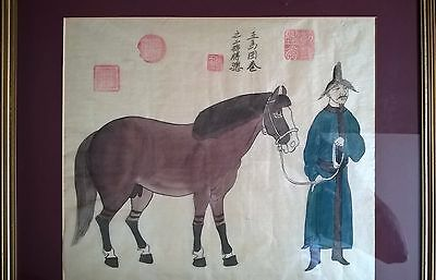 old antique chinese silk painting