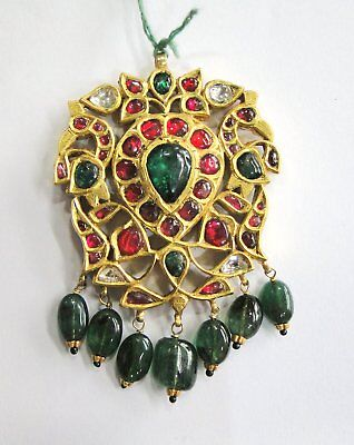 Vintage antique Solid 20K Gold jewelry diamond Polki Ruby Emerald Pendant India