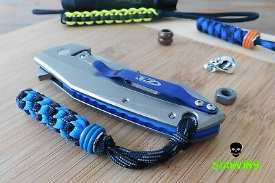 Paracord knife lanyard-blue ring bead-fits zero tolerance,spyderco & benchmade