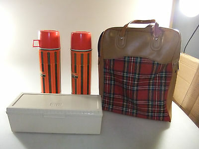 Vintage King Seeley Double Thermos Set W/Lunchbox & Plaid Carry Case