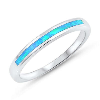 925 Sterling Silver Eternity Ring with Channel Set Blue Lab Created Opal Inlay