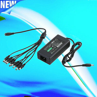 8 Split Power Cable CCTV Security Camera HX LOT 10X 12V 5A Power Supply Adapter