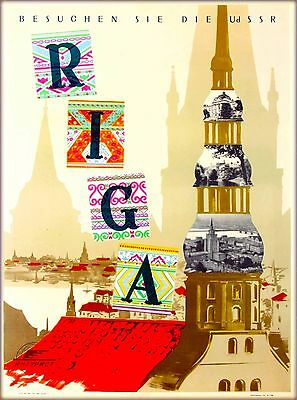 Latvia  Latvian Russia Russian USSR Vintage Travel Advertisement Poster Print