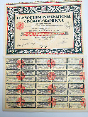 Action et titre CONSORTIUM INTERNATIONAL CINEMATOGRAPHIQUE 1928