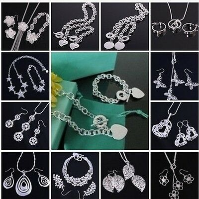 Xmas GIFT Fashion 925 Silver Jewelry Sets Earrings/Necklace/Bracelet  Gifts