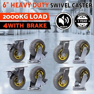 "OZ 4X Heavy Duty Caster Wheel Swivel Castors 2 with Brakes 1000KG Load 6"" 150mm"