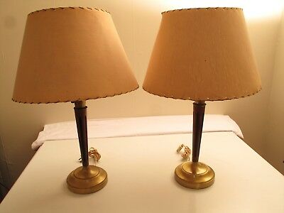Pair Mid Century Modern Walnut Brass Table Lamps W/ Diffusers & Shades.