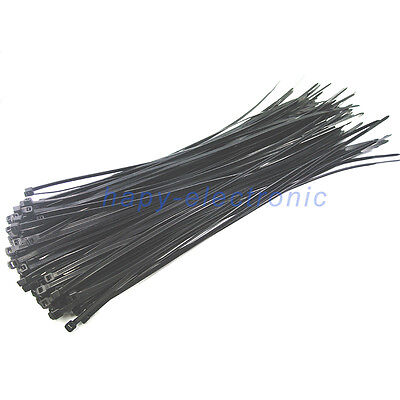 50pcs 4mm x 300mm black Nylon Plastic Zip Wrap Cable Loop Ties Wire Self-Locking