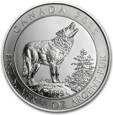 Grey Wolf 2015 3/4 OZ Unze Ounce Once Silber Silver Argent Kanada Canada Loup