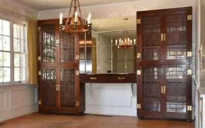 Henredon Mid Century 1970's Campaign Style Curio Cabinets with Glass Shelves