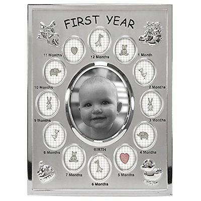 Baby's First Year Collage Picture Frame, 13 Option, 1-3.5x4, 12-1x1, Silver NEW
