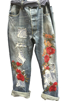 Boho Chic All Sizes  Vintage Levis Jeans Floral Roses Customised Ritanotiara